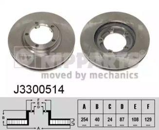 Вентилируемый тормозной диск на MITSUBISHI L300 'NIPPARTS J3300514'.