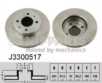 Вентилируемый тормозной диск на Хендай Акцент 'NIPPARTS J3300517'.