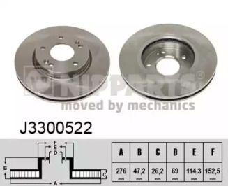Вентилируемый тормозной диск на HYUNDAI H-1 'NIPPARTS J3300522'.