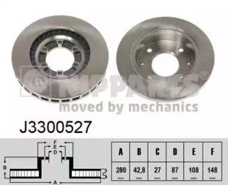 Вентилируемый тормозной диск на HYUNDAI TERRACAN 'NIPPARTS J3300527'.