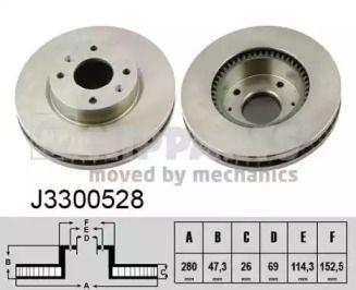 Вентилируемый тормозной диск на HYUNDAI GRANDEUR 'NIPPARTS J3300528'.