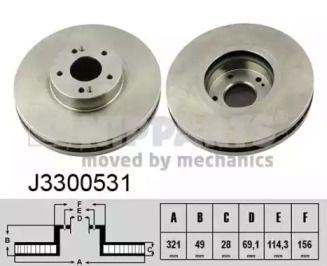 Вентилируемый тормозной диск на Хендай Ай икс 55 'NIPPARTS J3300531'.