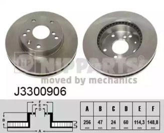 Вентилируемый тормозной диск на CHEVROLET EPICA 'NIPPARTS J3300906'.