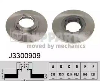Тормозной диск на DAEWOO MATIZ 'NIPPARTS J3300909'.