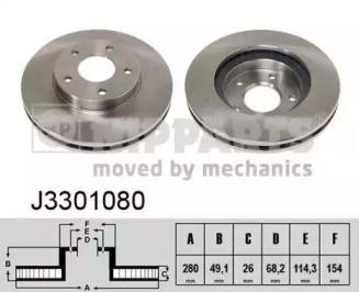 Вентилируемый тормозной диск на Ниссан Максима 'NIPPARTS J3301080'.