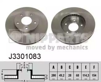 Вентилируемый тормозной диск на Ниссан Х-Трейл 'NIPPARTS J3301083'.