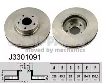 Вентилируемый тормозной диск на INFINITI G 'NIPPARTS J3301091'.