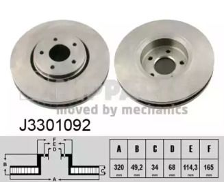 Вентилируемый тормозной диск на Инфинити Ку икс 50 'NIPPARTS J3301092'.