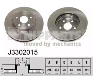 Вентилируемый тормозной диск на Тайота Карина 'NIPPARTS J3302015'.