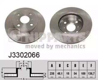 Вентилируемый тормозной диск 'NIPPARTS J3302066'.