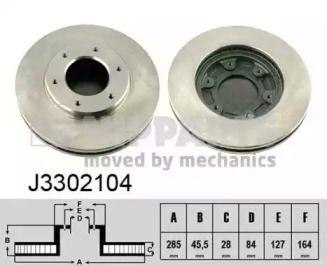 Вентилируемый тормозной диск на Тайота Хайэйс 'NIPPARTS J3302104'.