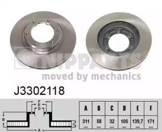 Вентилируемый тормозной диск на Тайота Ленд Крузер 'NIPPARTS J3302118'.
