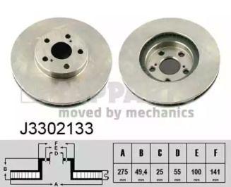 Вентилируемый тормозной диск на TOYOTA CELICA 'NIPPARTS J3302133'.