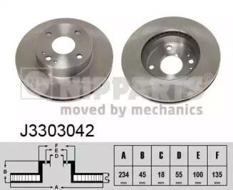 Вентилируемый тормозной диск на Киа Авелла 'NIPPARTS J3303042'.