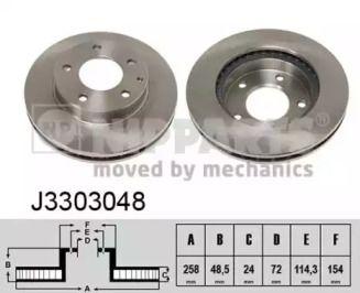 Вентилируемый тормозной диск на MAZDA MX-6 NIPPARTS J3303048.