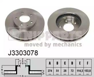 Вентильований гальмівний диск на Мазда Кседос 9 'NIPPARTS J3303078'.