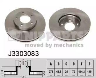 Вентилируемый тормозной диск на MAZDA 5 'NIPPARTS J3303083'.