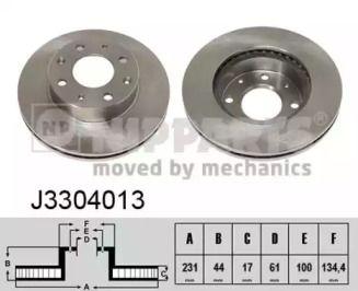 Вентилируемый тормозной диск на Хонда ЦРХ 'NIPPARTS J3304013'.