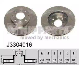 Вентилируемый тормозной диск на Хонда Прелюд 'NIPPARTS J3304016'.