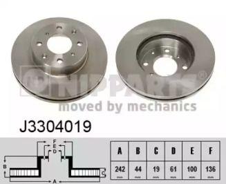 Вентилируемый тормозной диск на Акура Интегра 'NIPPARTS J3304019'.