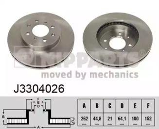 Вентилируемый тормозной диск на HONDA JAZZ 'NIPPARTS J3304026'.