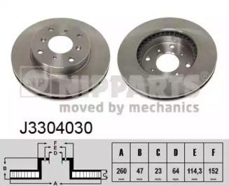 Вентилируемый тормозной диск на HONDA PRELUDE 'NIPPARTS J3304030'.