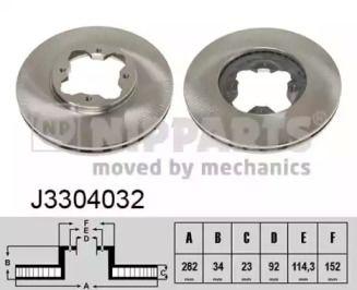 Вентилируемый тормозной диск на Акура Вигор 'NIPPARTS J3304032'.
