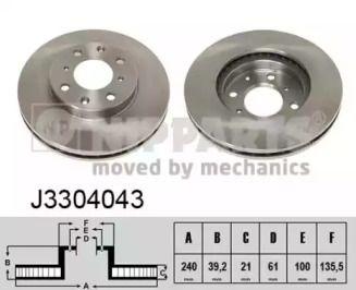 Вентилируемый тормозной диск на Хонда Джаз 'NIPPARTS J3304043'.