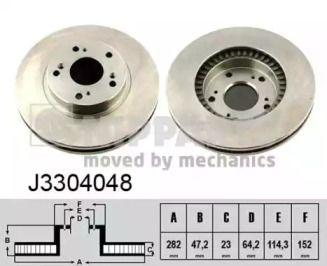 Вентилируемый тормозной диск на Хонда ФРВ 'NIPPARTS J3304048'.