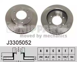 Вентилируемый тормозной диск на MITSUBISHI PAJERO 'NIPPARTS J3305052'.