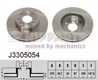 Вентилируемый тормозной диск NIPPARTS J3305054.