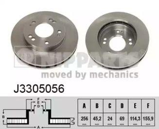 Вентилируемый тормозной диск на MITSUBISHI ECLIPSE 'NIPPARTS J3305056'.