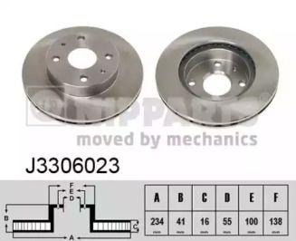 Вентилируемый тормозной диск на Дайхатсу Куоре 'NIPPARTS J3306023'.
