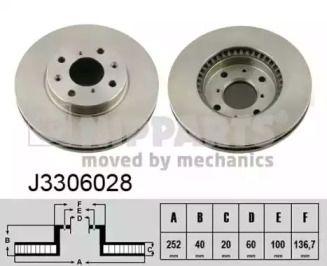 Вентилируемый тормозной диск на OPEL AGILA 'NIPPARTS J3306028'.