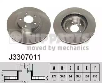 Вентилируемый тормозной диск на SUBARU LEGACY OUTBACK 'NIPPARTS J3307011'.
