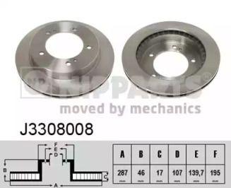 Вентилируемый тормозной диск на SUZUKI JIMNY 'NIPPARTS J3308008'.