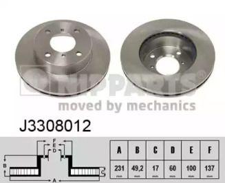 Вентилируемый тормозной диск на SUZUKI ALTO 'NIPPARTS J3308012'.