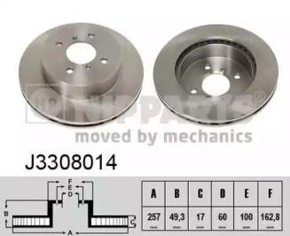 Вентилируемый тормозной диск на SUZUKI IGNIS 'NIPPARTS J3308014'.