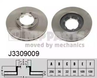 Вентилируемый тормозной диск на OPEL FRONTERA 'NIPPARTS J3309009'.