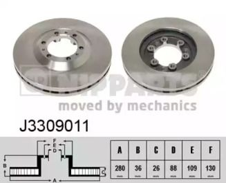 Вентилируемый тормозной диск на Исузу Вехикросс 'NIPPARTS J3309011'.