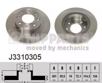 Тормозной диск на KIA CLARUS 'NIPPARTS J3310305'.