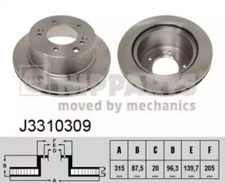 Вентилируемый тормозной диск на Киа Соренто 'NIPPARTS J3310309'.