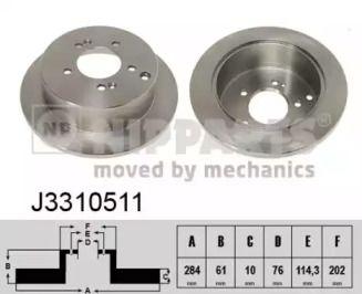 Тормозной диск на HYUNDAI IX35 'NIPPARTS J3310511'.