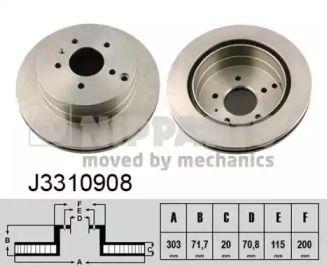 Вентилируемый тормозной диск на Опель Антара 'NIPPARTS J3310908'.