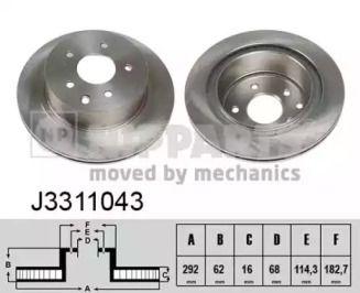 Вентилируемый тормозной диск на RENAULT KOLEOS 'NIPPARTS J3311043'.