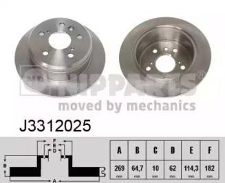 Тормозной диск на TOYOTA CAMRY 'NIPPARTS J3312025'.