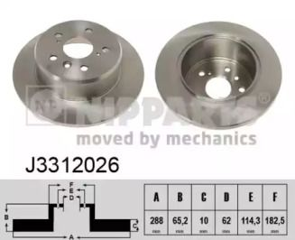 Тормозной диск на Тайота Харриер 'NIPPARTS J3312026'.