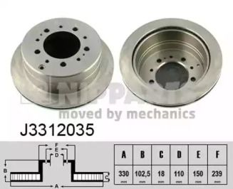 Вентилируемый тормозной диск на TOYOTA LAND CRUISER PRADO 'NIPPARTS J3312035'.