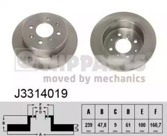Тормозной диск на Хонда Джаз 'NIPPARTS J3314019'.