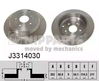 Тормозной диск на HONDA CR-V 'NIPPARTS J3314030'.
